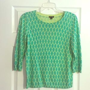 Ann Taylor green and yellow sweater